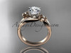 "14k rose gold diamond leaf and vine wedding ring, engagement ring with a ""Forever One"" Moissanite center stone ADLR159"
