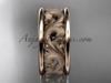 14kt rose gold leaf engagement ring, wedding band ADLR121G