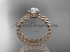"""14k rose gold diamond wedding ring, engagement set with a """"Forever One"""" Moissanite ADLR34S"""