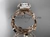 14k rose gold diamond leaf and vine wedding ring, engagement ring, engagement set ADLR212S