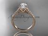 14kt rose gold diamond unique engagement ring, wedding ring ADER116