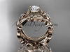 14k rose gold diamond floral wedding set, engagement set ADLR216S