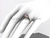 14kt rose gold diamond floral wedding ring, engagement ring with pink topaz center stone ADLR101