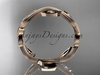 14k rose gold diamond leaf and vine wedding ring, engagement ring, wedding band ADLR102