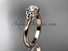 """14kt rose gold celtic trinity knot wedding ring with a """"Forever One"""" Moissanite center stone CT7154"""