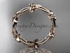 14k rose gold leaf and vine wedding ring, engagement ring ADLR19C