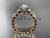 "14k rose gold diamond vine and leaf wedding ring, engagement set with a ""Forever One"" Moissanite center stone ADLR35S"