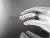 14k rose gold leaf and vine engagement ring, wedding set with a Black Diamond center stone ADLR258S