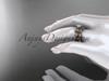 14k rose gold diamond leaf and vine wedding ring, engagement ring, engagement set ADLR213S