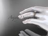 "14k rose gold diamond leaf and vine wedding ring, engagement ring with  ""Forever One"" Moissanite center stone ADLR33"
