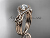 """14kt rose gold celtic trinity knot engagement ring ,diamond wedding ring with """"Forever One"""" Moissanite center stone CT785"""