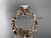 """14k rose gold diamond leaf and vine wedding ring, engagement ring, engagement set with a """"Forever One"""" Moissanite center stone ADLR213S"""