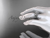 14k white gold diamond leaf and vine wedding ring, engagement ring with a double matching band ADLR317S