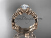 """14kt rose gold celtic trinity knot wedding ring, engagement set with a """"Forever One"""" Moissanite center stone CT7238S"""