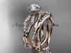 14k rose gold diamond leaf and vine wedding ring, engagement set ADLR353S