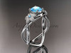 14kt white gold diamond leaf and vine birthstone ring ADLR90 Blue Topaz - December\'s Birthstone. nature inspired jewelry