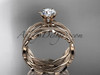 """14k rose gold leaf and vine engagement ring, wedding set with a """"Forever One"""" Moissanite center stone ADLR258S"""