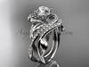 Unique 14kt white gold diamond leaf and vine wedding set, engagement set ADLR222S