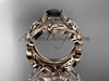 14k rose gold diamond floral wedding set, engagement set with a Black Diamond center stone ADLR216S