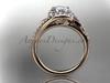 14k rose gold diamond leaf and vine wedding ring, engagement ring ADLR317