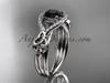 14kt white gold celtic trinity knot engagement ring ,diamond wedding ring with  Black Diamond center stone CT785
