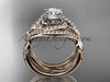 """Unique 14kt rose gold diamond leaf and vine wedding ring, engagement ring with a """"Forever One"""" Moissanite center stone and double matching band ADLR222S"""