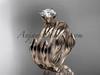 14k rose gold leaf and vine wedding ring, engagement set ADLR343S