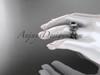 14k white gold diamond leaf and vine wedding ring, engagement ring, engagement set with a Black Diamond center stone  ADLR212S