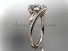 "14k rose gold diamond leaf and vine wedding ring, engagement ring with a ""Forever One"" Moissanite center stone ADLR317"
