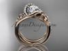 14k rose gold leaf and flower diamond unique engagement set, wedding ring ADLR369S