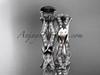 14k white gold diamond leaf and vine wedding ring, engagement set with a  Black Diamond center stone ADLR353S