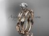 14k rose gold diamond vine and leaf wedding ring, engagement set ADLR178S