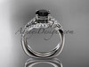 platinum diamond leaf and vine engagement ring set with a Black Diamond center stone ADLR112S