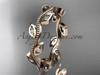 14k rose gold diamond leaf and vine wedding ring, engagement ring, wedding band ADLR1BA