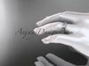 14k white gold diamond leaf and vine wedding band,engagement ring ADLR353B