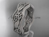 14kt white gold celtic trinity knot wedding band, matte finish wedding band, engagement ring CT7190G