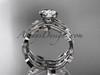 14k white gold diamond leaf and vine wedding ring, engagement ring, engagement set ADLR213S
