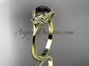 14k yellow gold  diamond unique engagement ring with a Black Diamond center stone ADLR375