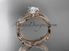 "14k rose gold diamond leaf and vine wedding ring set, engagement ring set with  ""Forever One"" Moissanite center stone ADLR31S"