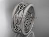 14kt white gold celtic trinity knot wedding band, matte finish wedding band, engagement ring CT7511G