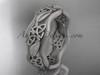 14kt white gold celtic band, matte finish wedding band, engagement ring CT7504G