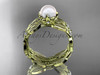 14k yellow gold diamond pearl vine and leaf engagement set AP58S