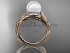 14k rose gold diamond pearl vine and leaf engagement ring AP64