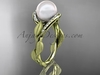 14k yellow gold diamond pearl vine and leaf engagement ring AP64