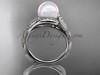 Platinum diamond pearl vine and leaf engagement ring AP64