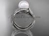 Platinum diamond pearl vine and leaf engagement set AP64S