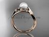 14k rose gold diamond pearl engagement ring AP78