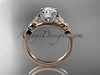 14k rose gold unique engagement ring, wedding ring ADLR387