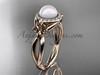 14kt rose gold diamond Fleur de Lis pearl engagement ring VP10023