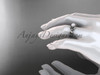 14kt white gold Fleur de Lis pearl engagement ring VP10024